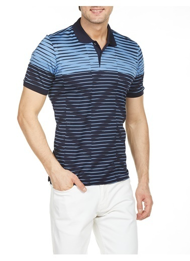 Bisse TS18Y18110 Regular Fit Çizgili Polo Yaka T-Shirt Lacivert